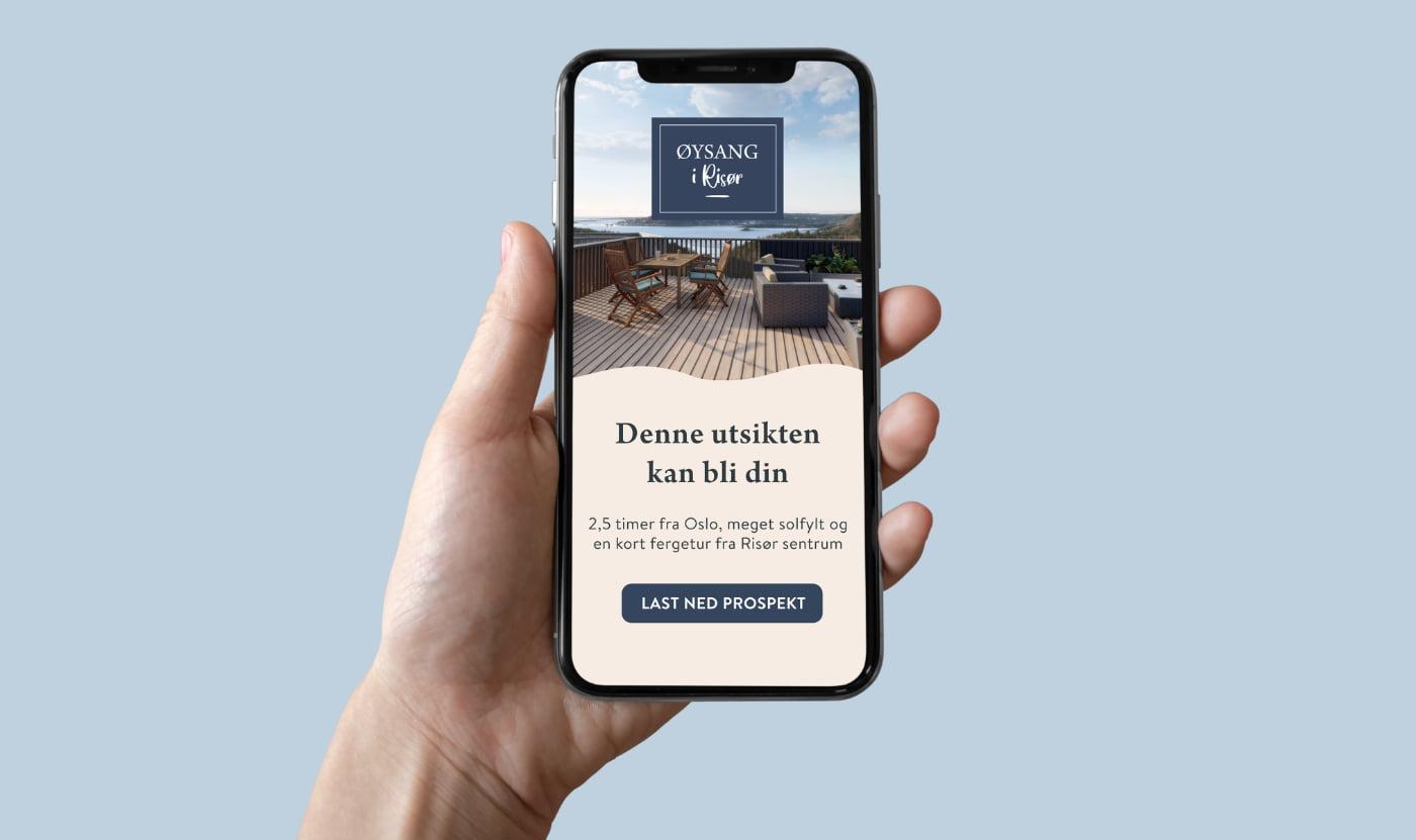 Mockup nettside mobil, Øysang i Risør