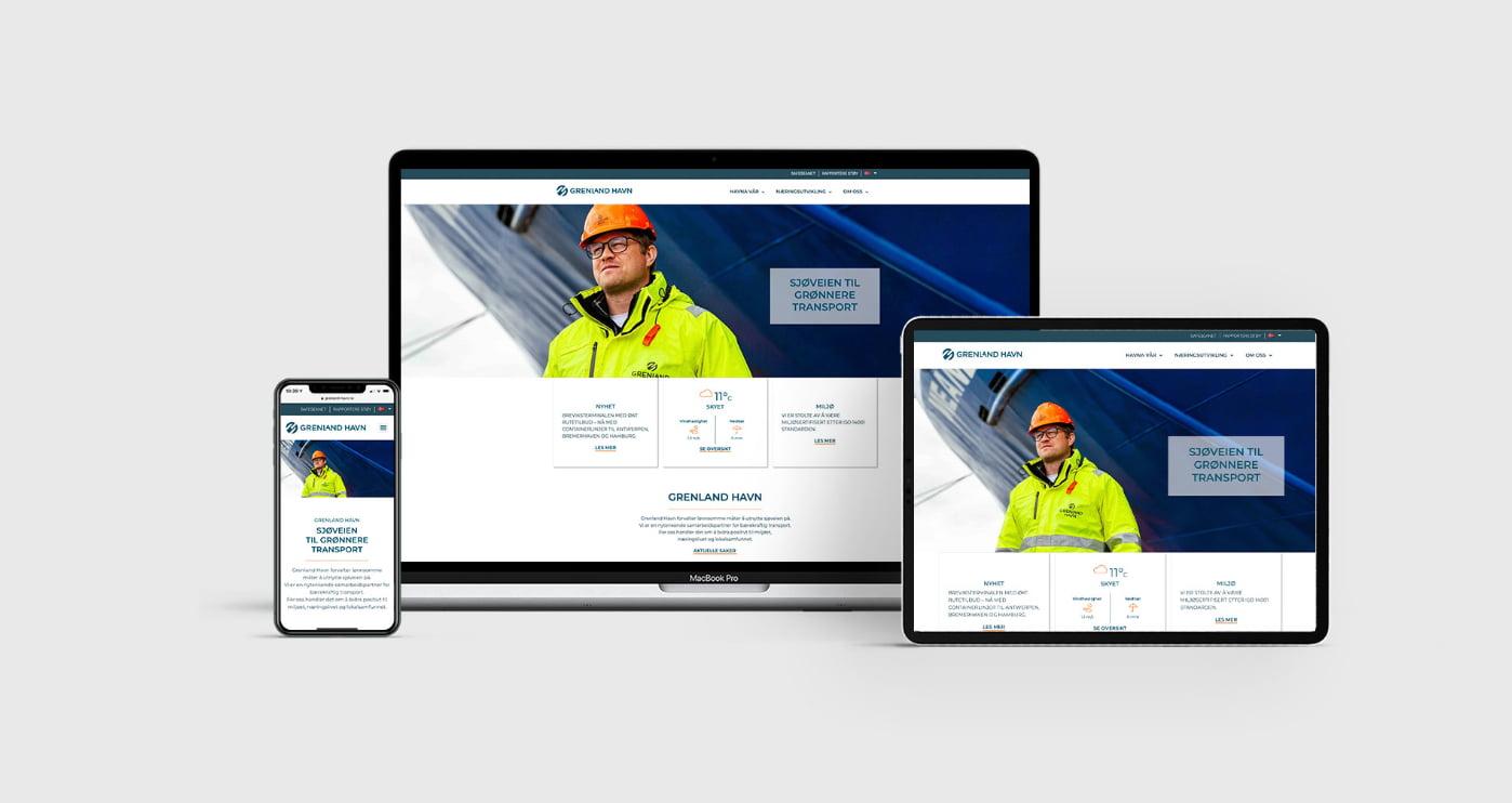 Nettside visning av Grenland Havn profil laget av Fjuz
