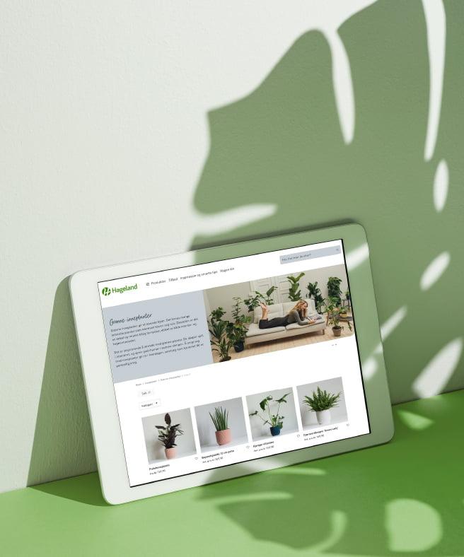 hageland nettside vist på ipad laget av fjuz